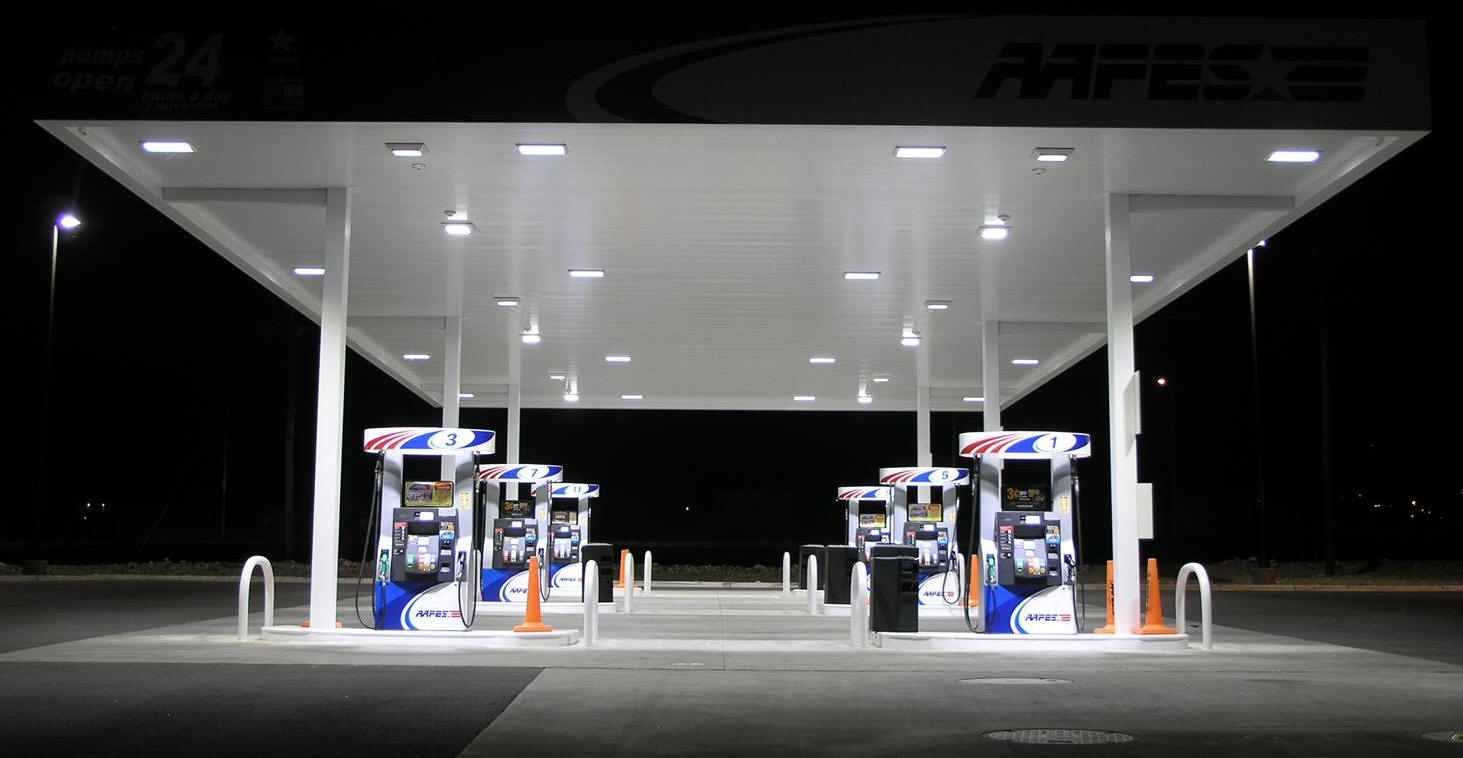 High reach bucket truck services and present-day technologies in servicing of petrol stations. Control systems components for fuel dispenser pumps ... & Fuel Station Electrical LED Canopy Lighting and Signage Service ...